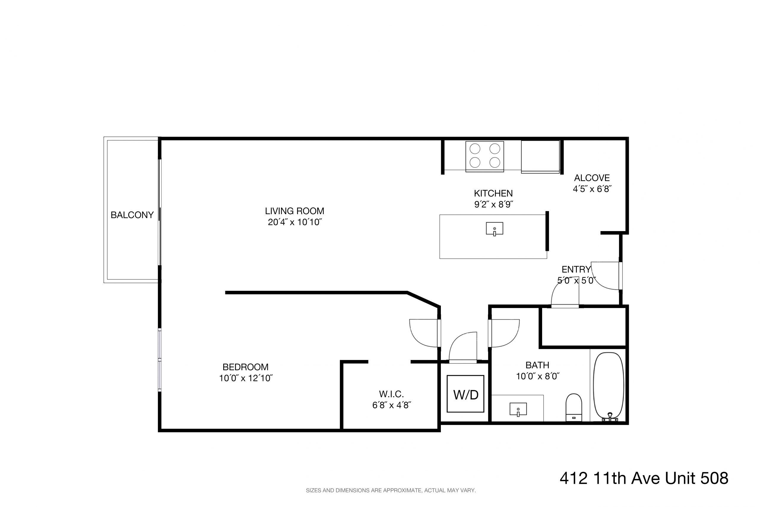 Floor Plan(dimensions) - 412 11th Avenue Unit 508